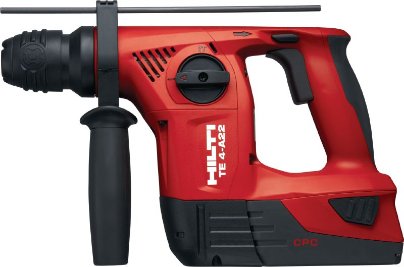 TE 4-A22 Compact D-grip 22V cordless rotary hammer with superior handling in serial applications